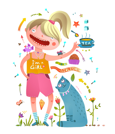 animals collection: Teenager kid and animals tea party signs collection. Vector illustration.