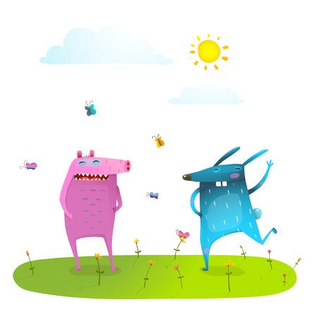 friends having fun: Friends cute animals playing having fun on sunny grass lawn