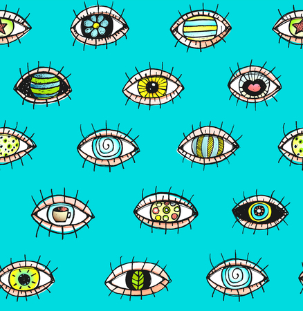 hand outline: Eyes sketchy hand drawn outline colorful seamless pattern background. Illustration
