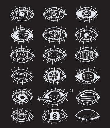 hand outline: Eyes sketchy hand drawn outline collection on black Illustration