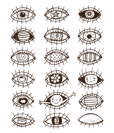 hand outline: Eyes sketchy hand drawn outline collection on white Illustration