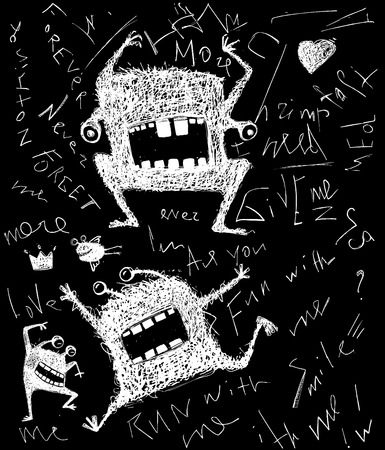 freaky: Hairy freaky creature monster monochrome scribble cartoon on black Illustration