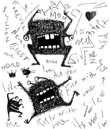 dreadful: Grunge dreadful horrible monster fun character hand drawn monochrome design
