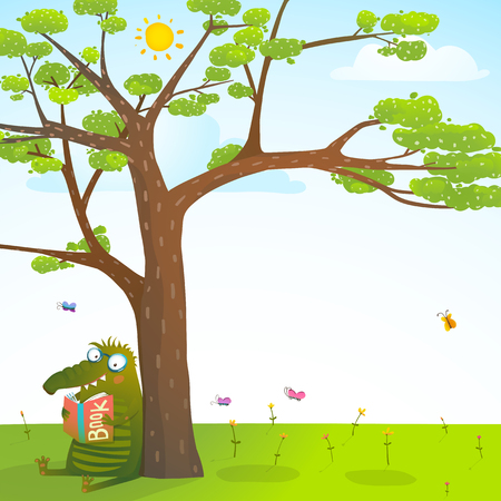 Funny monster under the summer tree reading book background