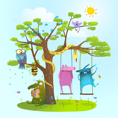 childish: Cute summer animals freinds playing under the tree, swinging, reading.