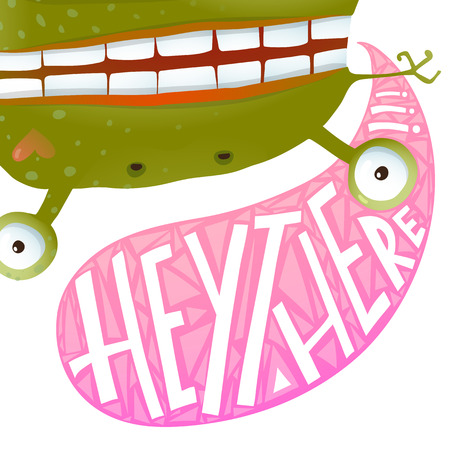 hey: Funny Green Frog Monster Sign Hey There Greeting Card