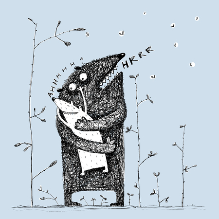 amused: Lovely parenting monster character loving a sweet kid, feeling love. Vector illustration