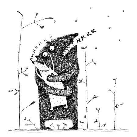 Reizender Vatermonstercharakter, der ein süßes Geschöpfkind, Liebe fühlend umarmt. Vektor-Illustration Standard-Bild - 72773305