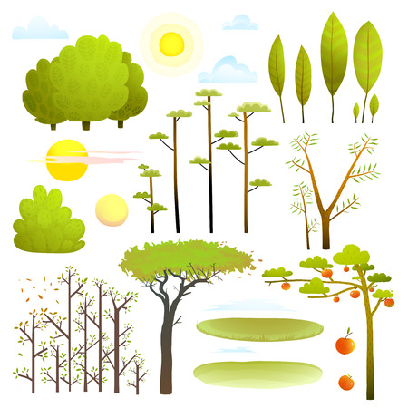 Trees nature landscape objects clip art collection Stock Illustratie