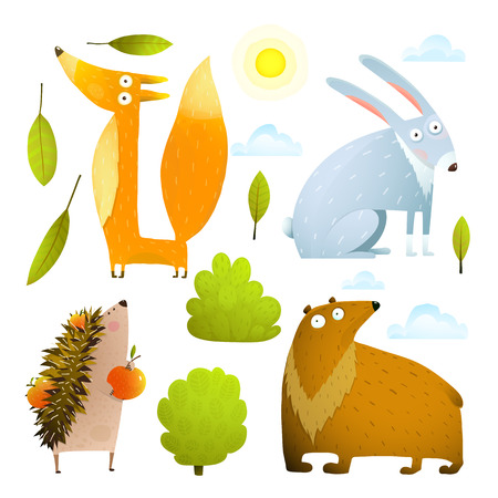 Set of animals with nature items, isolated on white background watercolor colorful style. Vector cartoon Illustration