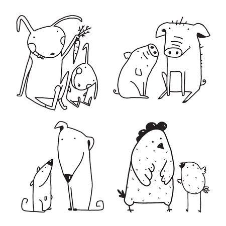 mother and baby: Baby Animals and pets kids and parents outline clip art collection for design. Vector cartoon.