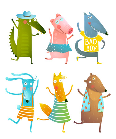 Funny Baby Dancing Animals Collection Stock Illustratie