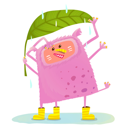 Funny Cute Monster under Rain