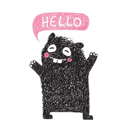 say hello: Kids Hand Drawn Black Monster say Hello