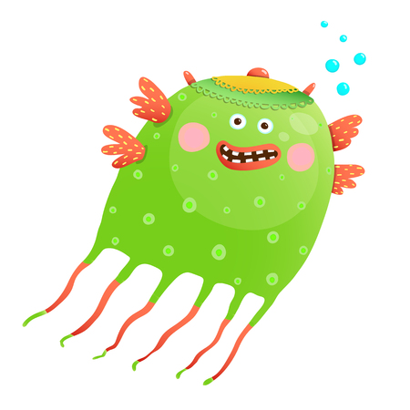 Green Happy Cute Jellyfish for Kids