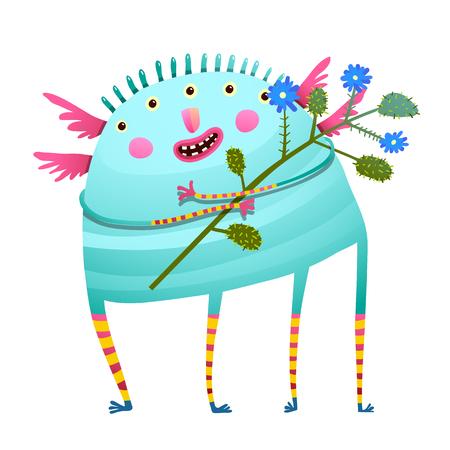 Vreemd monster houden bloemen gelukkig feliciteren