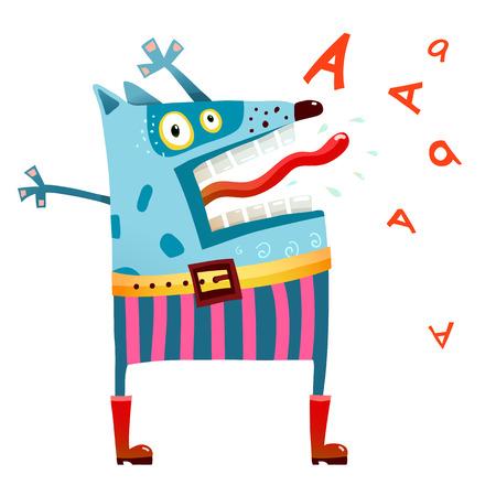 Dog monster in pants screaming Illustration