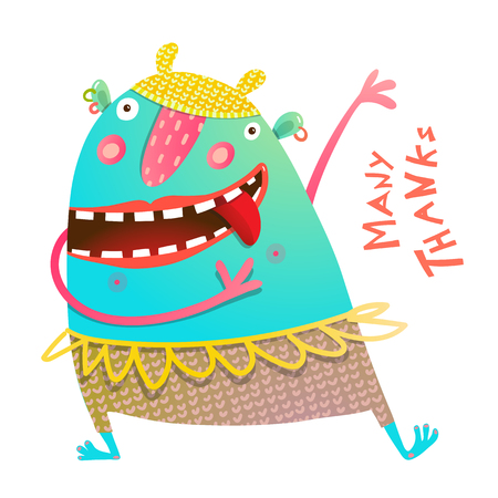 Dancing Showing Cheerful Cute Monster for Children