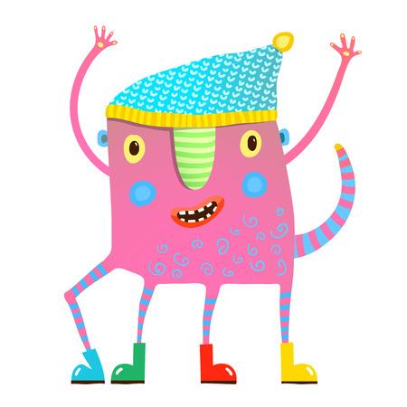 服を示す小さな子供モンスター  イラスト・ベクター素材