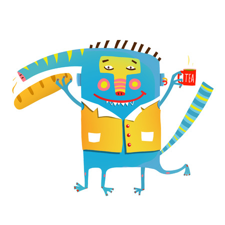 Fun crazy whimsical monster with baguette bread and tea Çizim