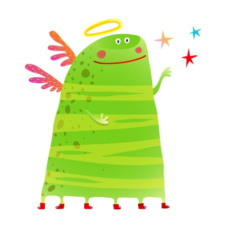 Green kids creature monster many legs wings stars 向量圖像