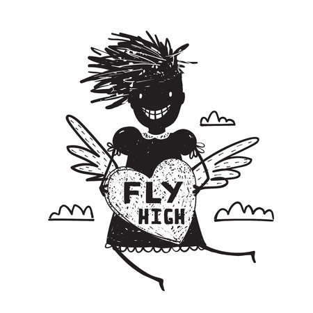 Girl Fly High in Sky with Heart Wings Cartoon