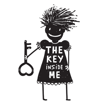 Girl with Key Cartoon
