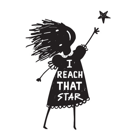 Girl or KId Reaching the High Star Illustration