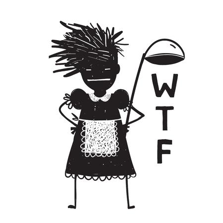 Angry Woman Cook Fragen Hände auf Hüften Standard-Bild - 81227380