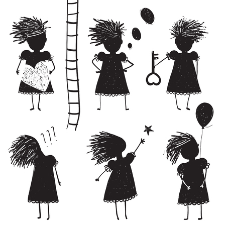 Girl Silhouette Character Traits Clip Art Collection Illustration