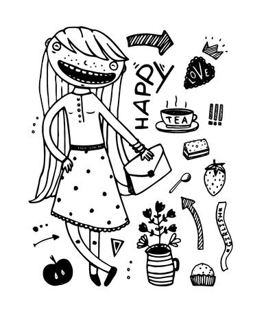 Girlish Fashion Cartoon design outline elements 向量圖像
