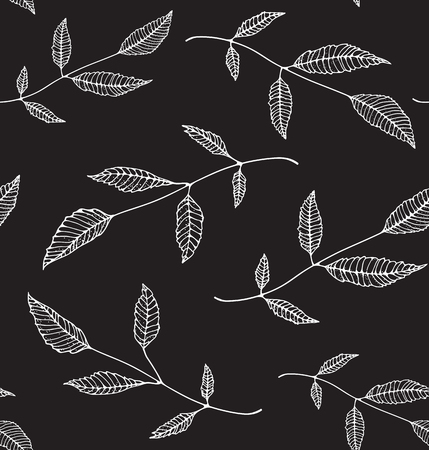 Black an White Floral Seamless Pattern Background