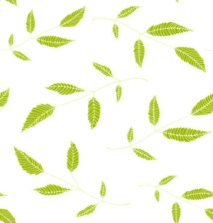 Floral Seamless Pattern Background Green on White Illustration