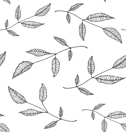 Black an White Leaves Seamless Pattern Background Illustration