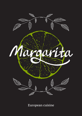 Restaurant Cocktail Bar Template with Lime on Black Illustration