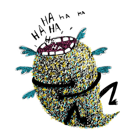 Hand Drawn Sketchy Monster Laughing