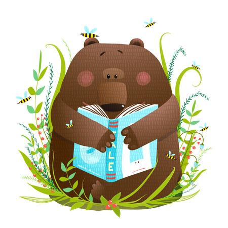 곰 새끼 독서 책 귀여운 만화