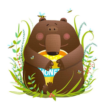 스위트 꿀 먹는 사랑스러운 곰 새끼 일러스트