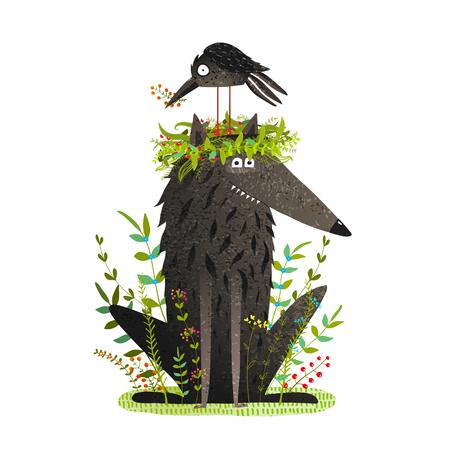 Black Wolf en vriendelijke Crow Sitting on Head.