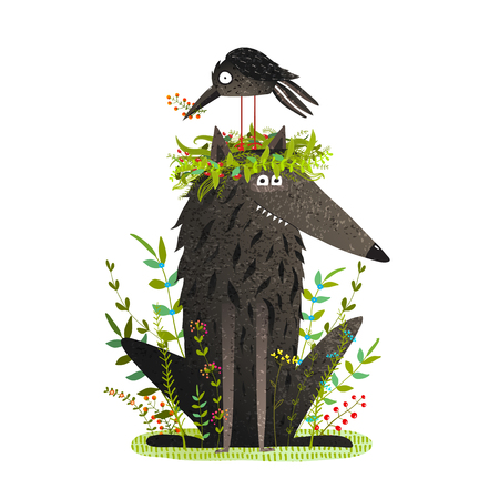 Black Wolf and friendly Crow Sitting on Head.