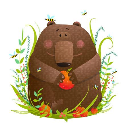 森のクマ カブ食べるリンゴ  イラスト・ベクター素材