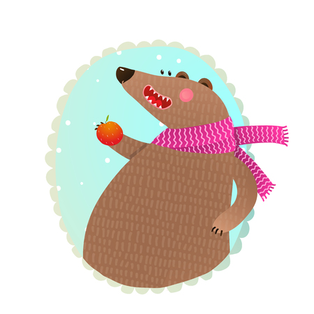 Bear Eating Apple Portrait. Illustration