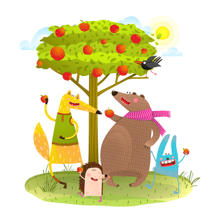 Baby Animals Friends and Apple Tree.