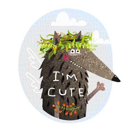 Portrait d'animal avec signe Im mignon dans la nature. Illustration vectorielle