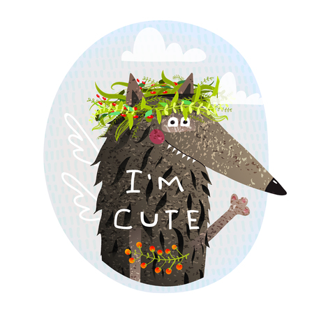 Animal portrait with sign Im cute in nature. Vector illustration.