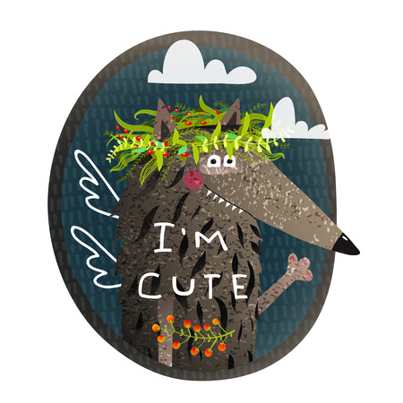 Animal portrait with sign Im cute in nature. Vector illustration. Reklamní fotografie - 84950023