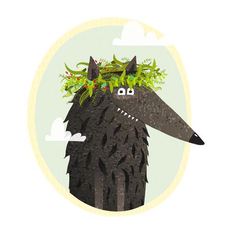 Fun animal in the wild cartoon. Vector illustration.