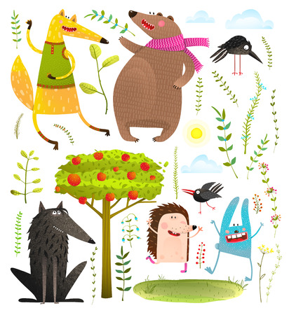 Wild Funny Forest Objects and Animals Set