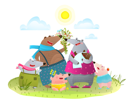Colorful cartoon animal family portrait Vector illustration.