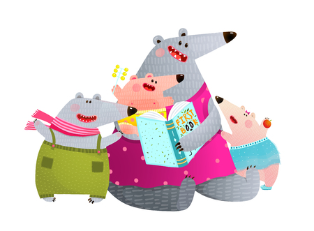 Happy animal family studying reading with mom. Vector illustration. Vettoriali